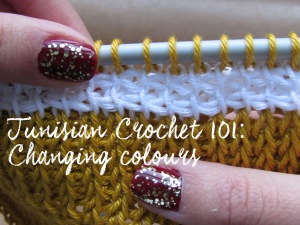 Tunisian Crochet 101: Changing colours at beginning of forward pass